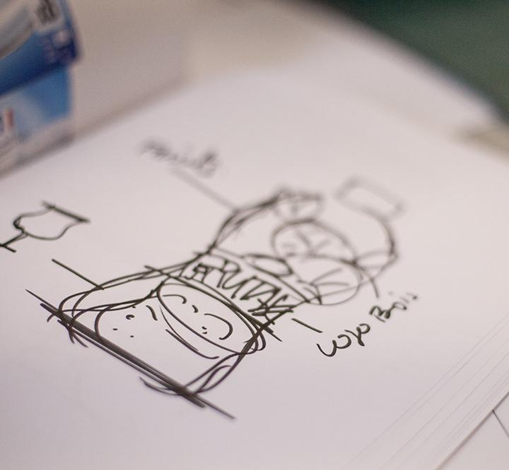 visuel représentant un croquis d'un pack bouteille #branding